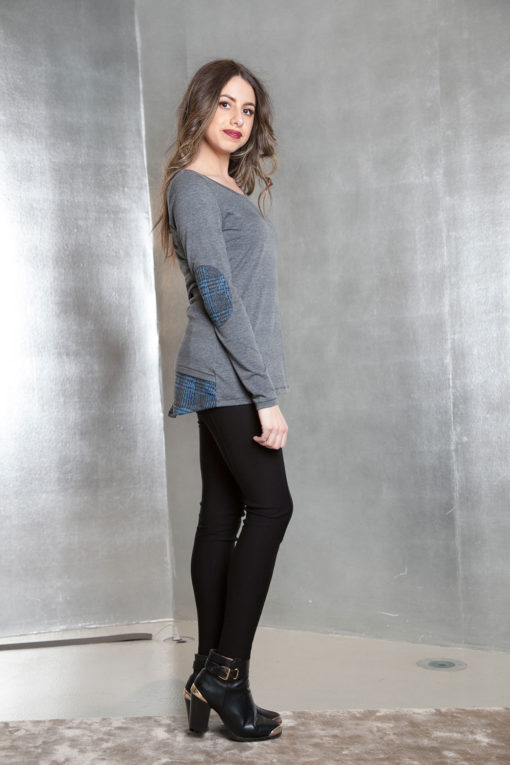 grey long sleeve patch top- side