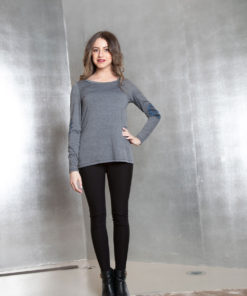 grey long sleeve patch top- front