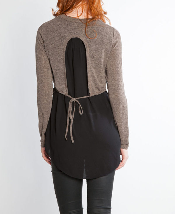 brown twofer top with back tie- back