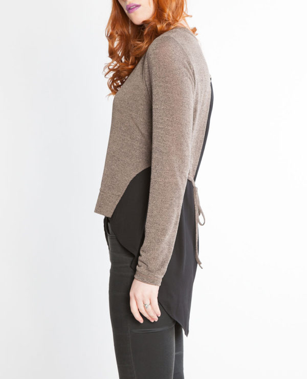 brown twofer top with back tie- side