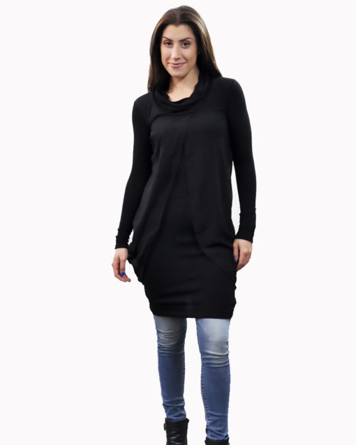 black layered tunic- front