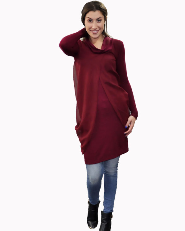 burgundy layered tunic- front