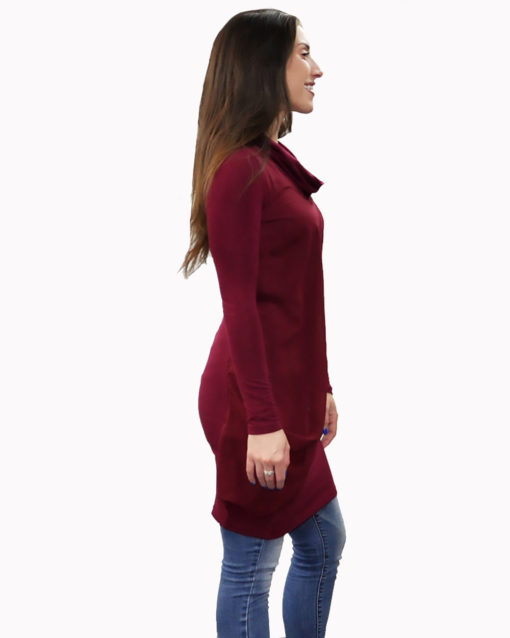 burgundy layered tunic- side
