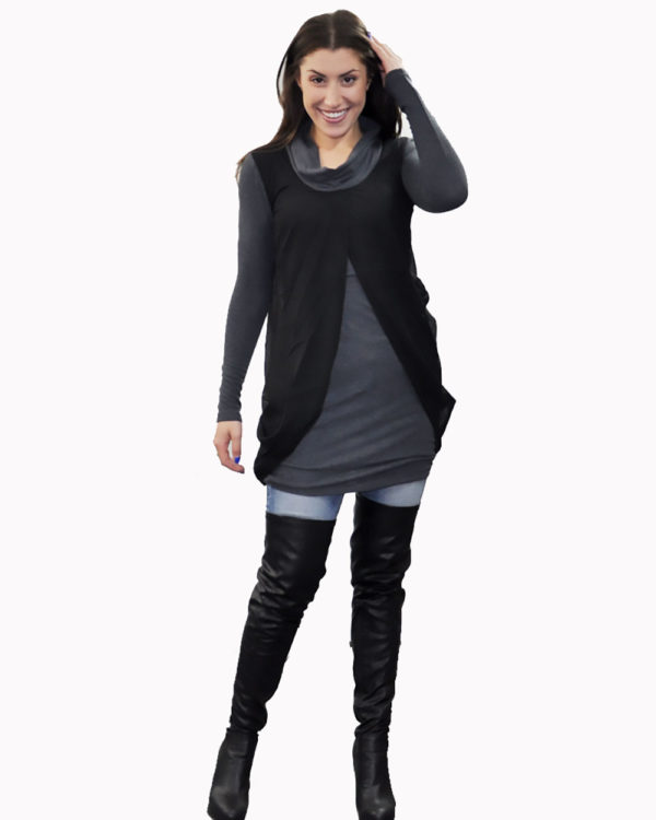 charcoal layered tunic- front