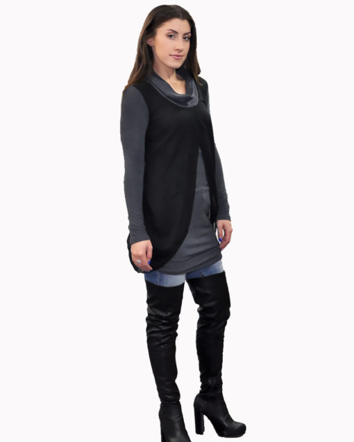 charcoal layered tunic- side