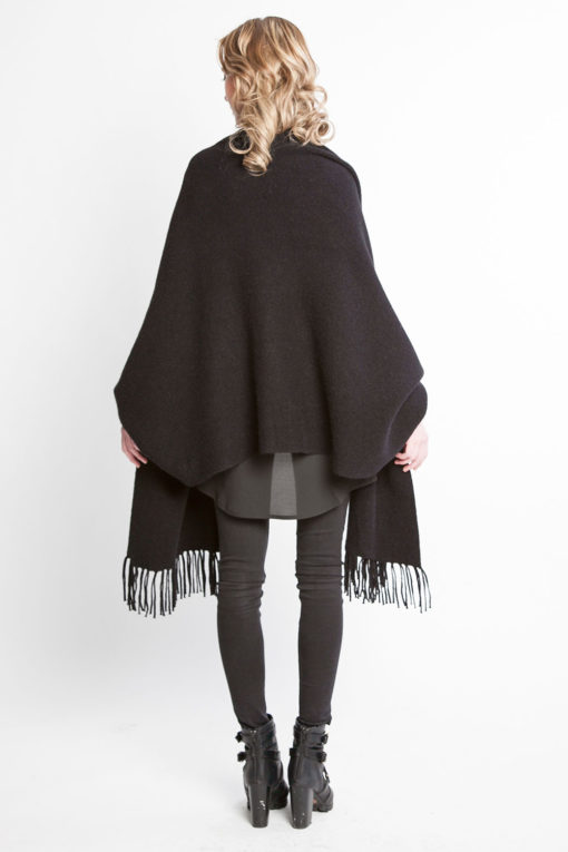 black knit poncho fringe cape- back