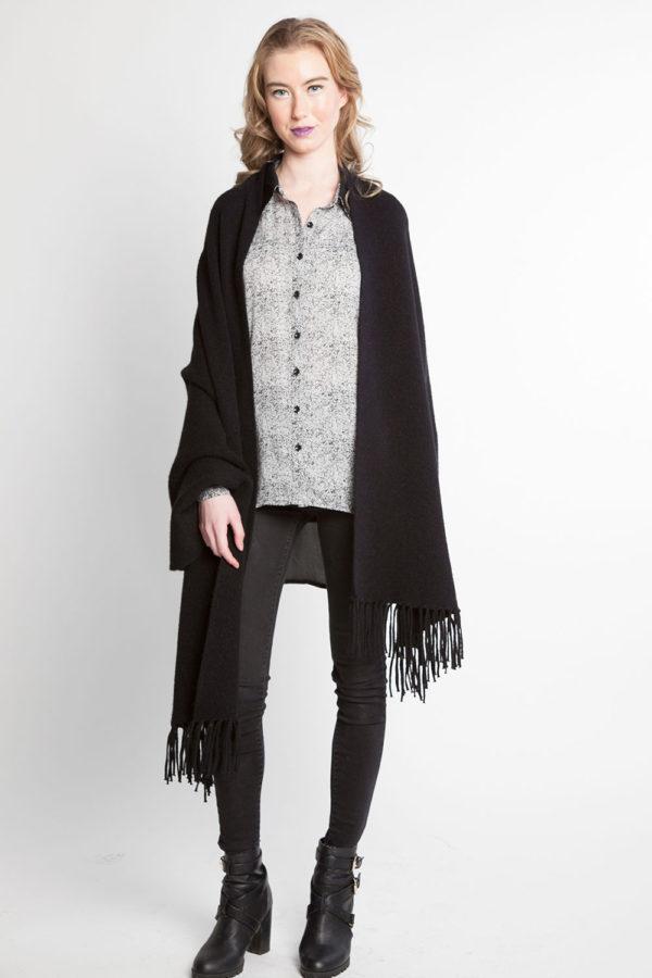 black knit poncho fringe cape- front