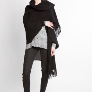 black knit poncho fringe cape- front wrapped