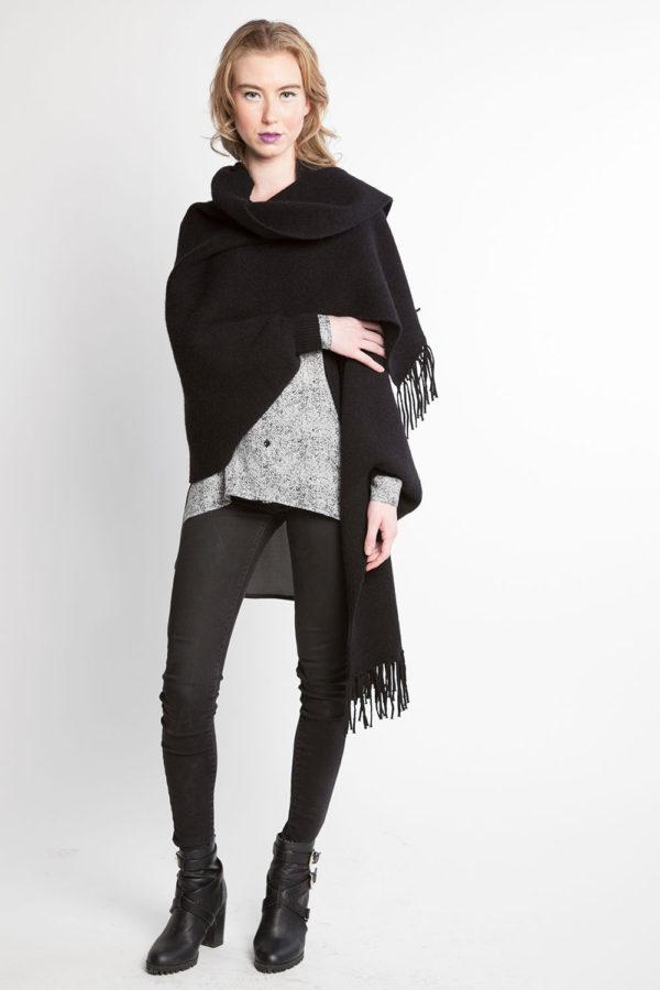 black knit poncho fringe cape- front wrapped