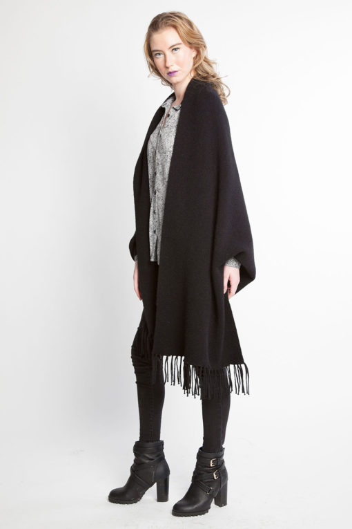 black knit poncho fringe cape- side