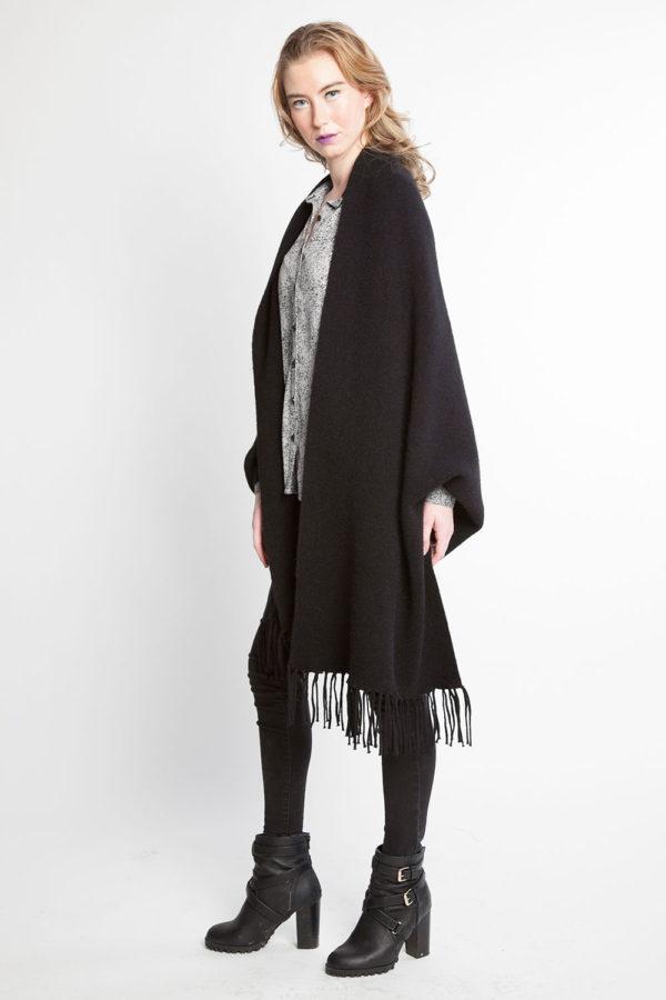 black knit poncho fringe cape- side