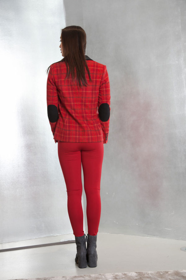 red plaid tailored blazer- back