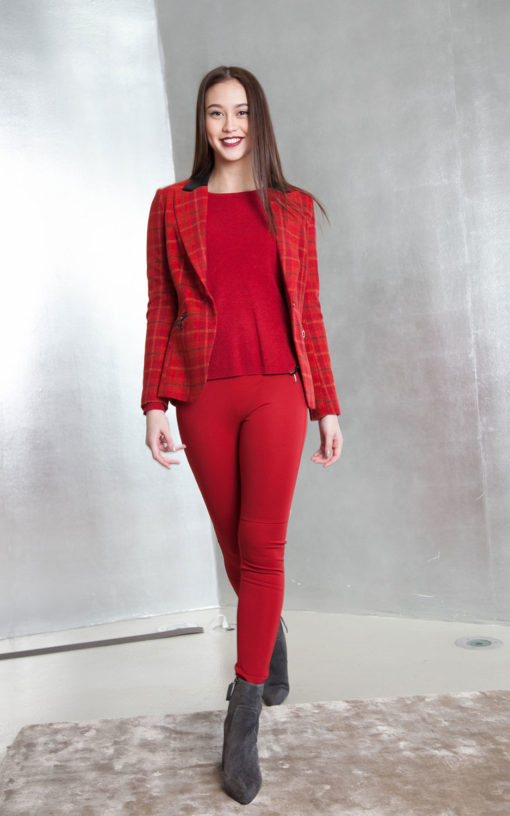 red plaid tailored blazer front