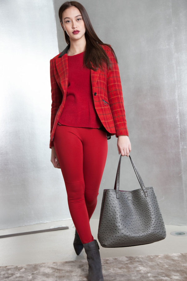red plaid tailored blazer- front purse