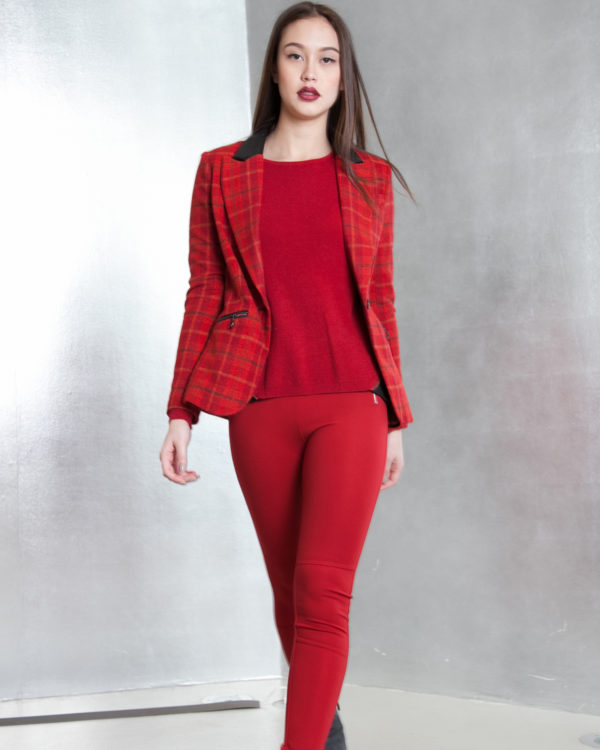 red plaid tailored blazer- side