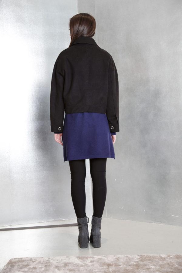 black felt grommet detail jacet- back