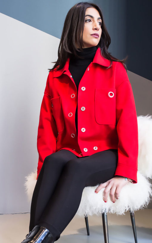 red felt grommet detail jacket- side