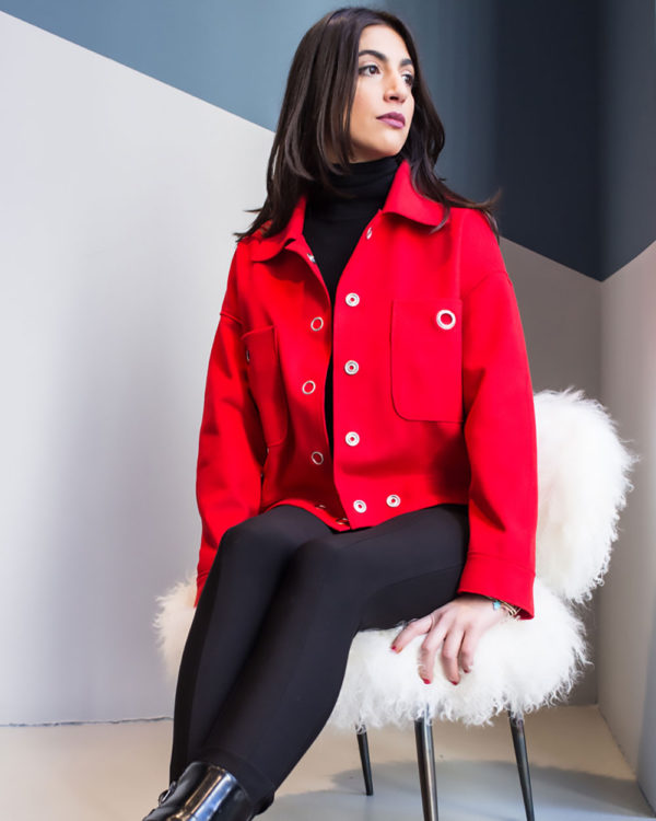 red felt grommet detail jacket- side