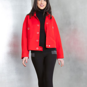 red felt grommet detail jacket- front