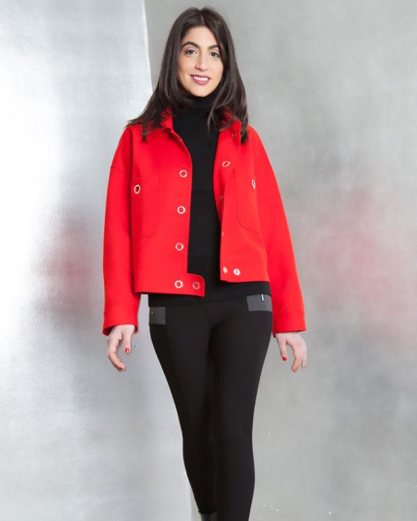 red felt grommet detail jacket- front
