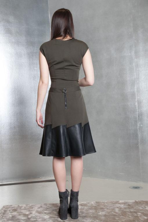 olive green multimedia skirt- back