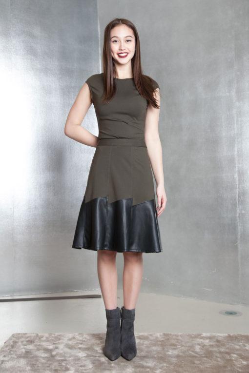 olive green multimedia skirt- front