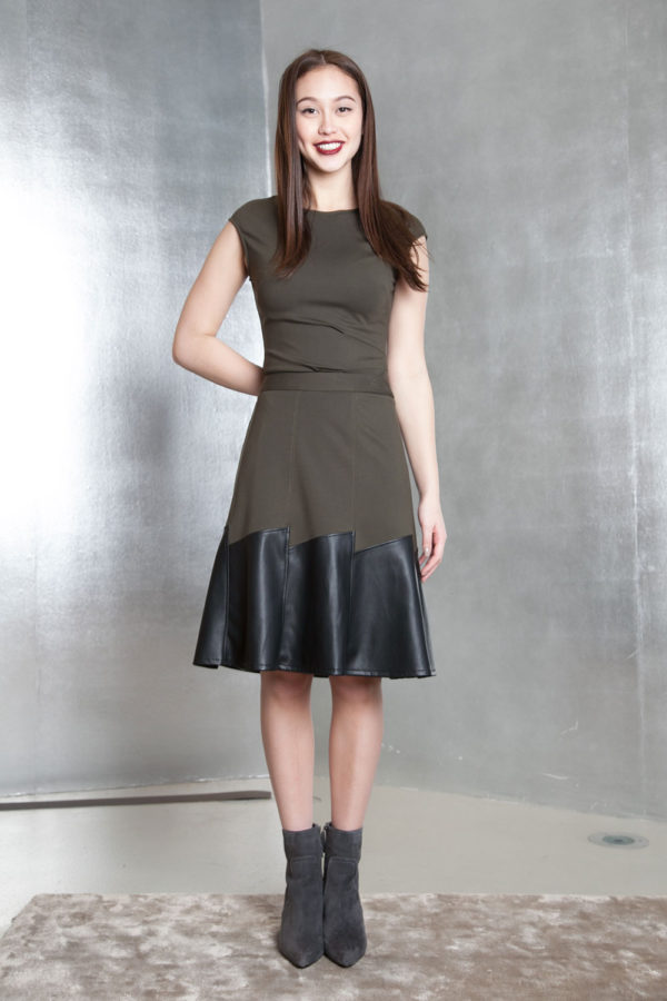 olive green multimedia skirt- front