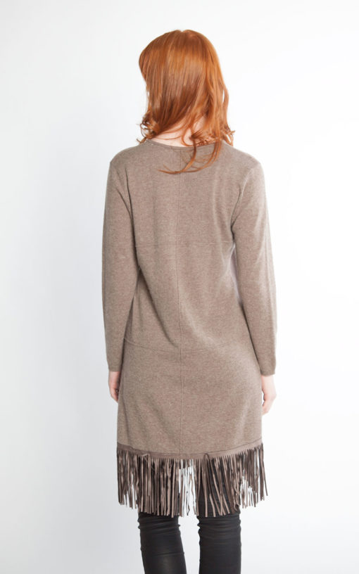 taupe knit dress with fringe- back