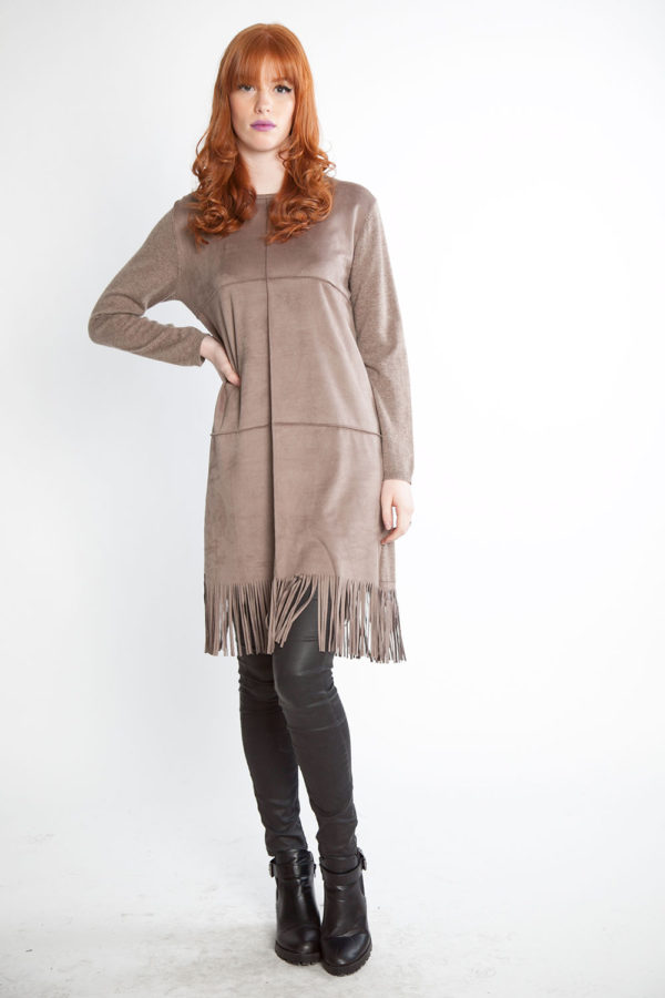 taupe knit dress with fringe- front
