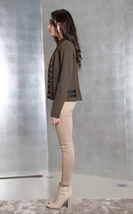 olive military style jacket- side