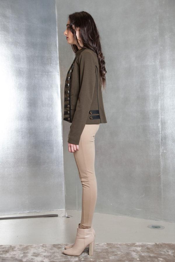 olive military style jacket- side