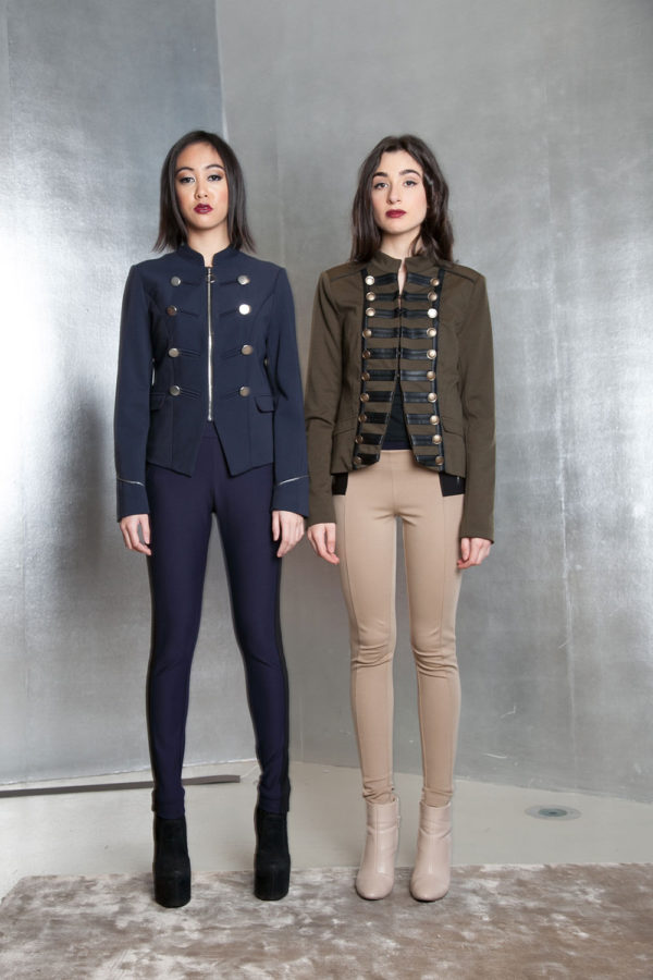 olive military style jacket- front