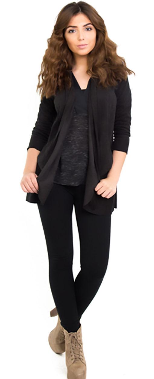 black ultra suede jacket- front