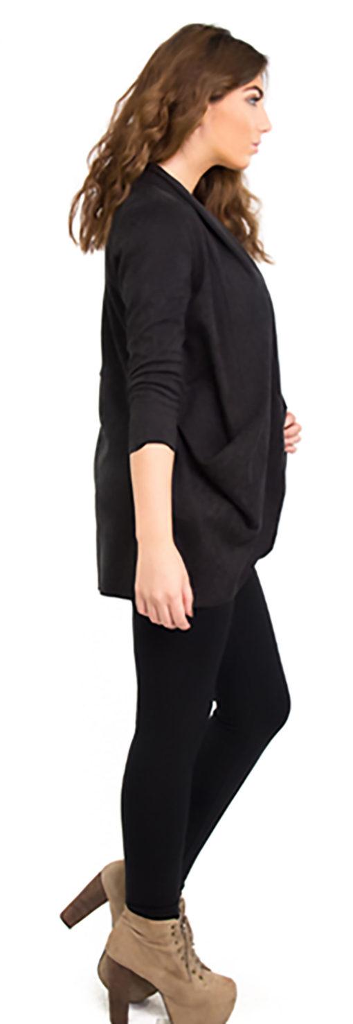 black ultra suede jacket- side
