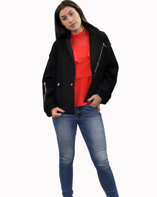black two way jacket- front open