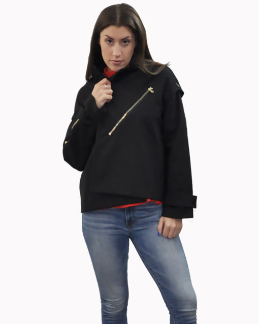 black two way jacket- front closed