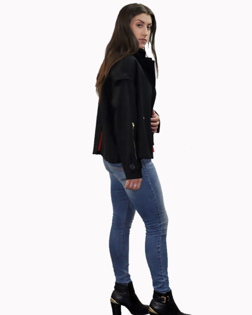 black two way jacket- side