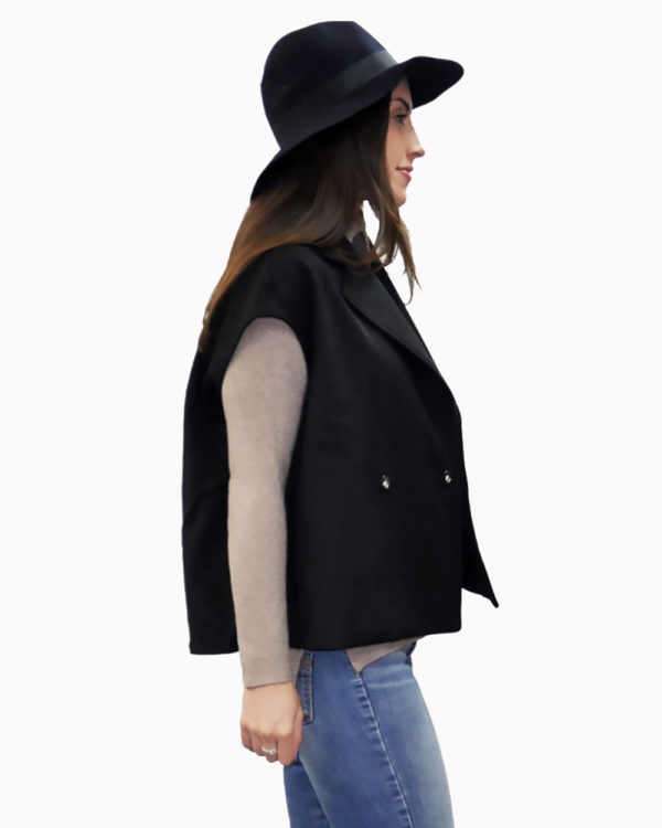 black two way jacket- vest side
