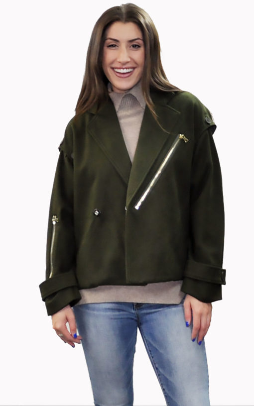 olive two way jacket- front