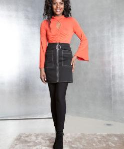 black contrast stitch skirt- front