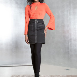 black contrast stitch skirt- front