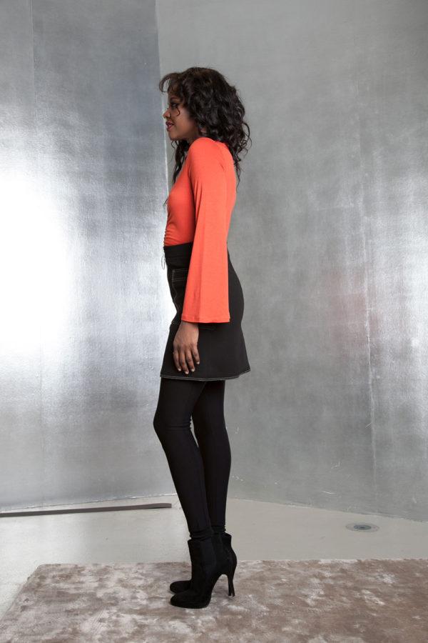 black contrast stitch skirt- side
