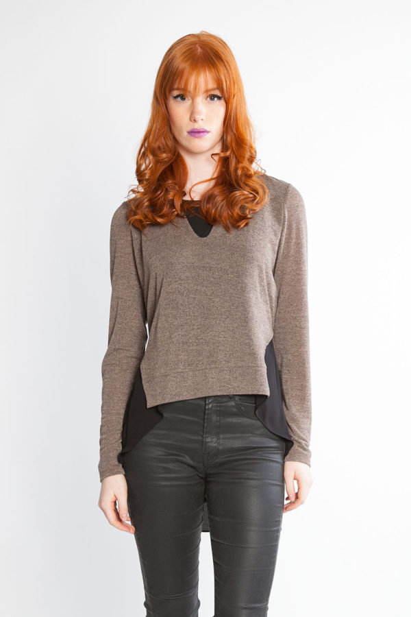 brown chiffon back tie detail top- front