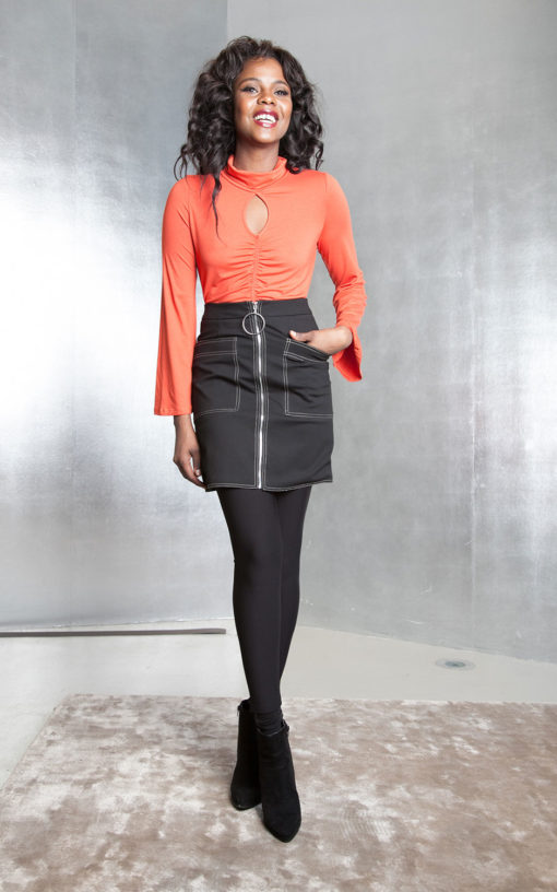 orange keyhole top with flare sleeves- front