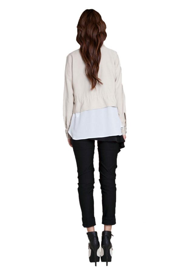 khaki suede layered jacket- back