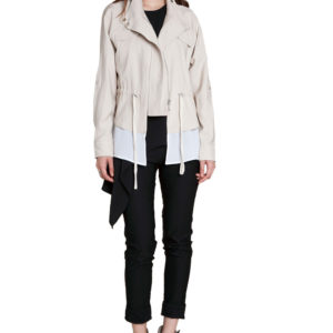 khaki suede layered jacket- front