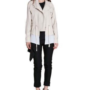khaki suede layered jacket- front
