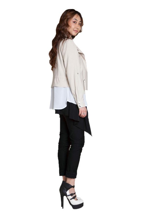 khaki layered suede jacket- side