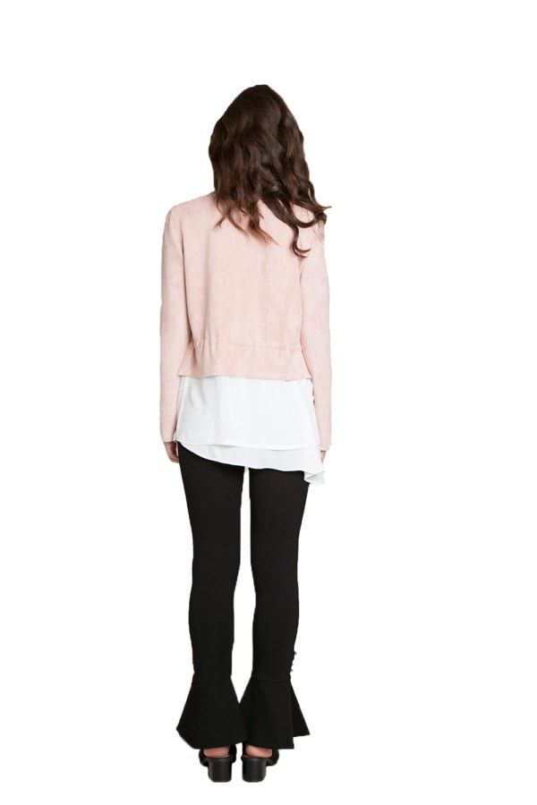 pink layered jacket- back