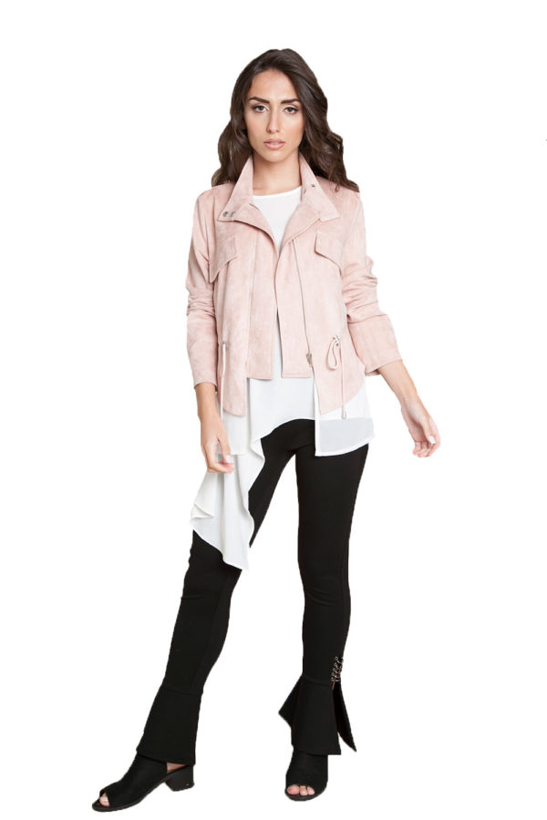 pink layered jacket- front